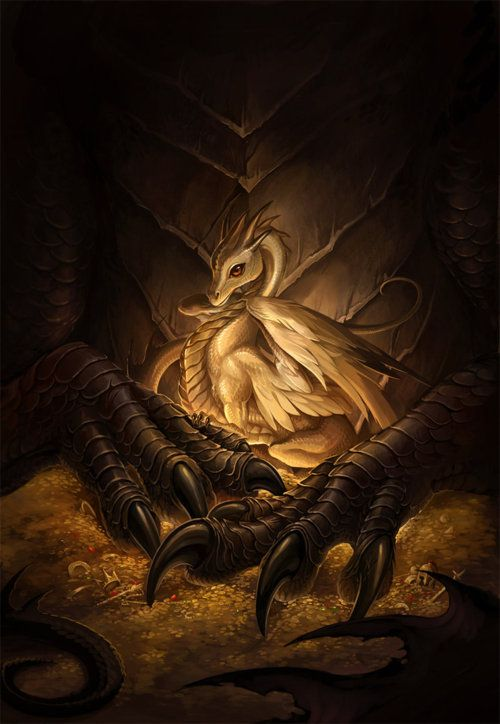 "I love dragons, and this golden little guy is absolutely precious - as the title of the piece implies. Better watch out for mama's claws if you're planning on getting too close to him, though!    ""precious"" by artist sandara, via DeviantArt: http://sandara.deviantart.com/art/precious-186360426?q=gallery%3Asandara%2F514931&qo=36"