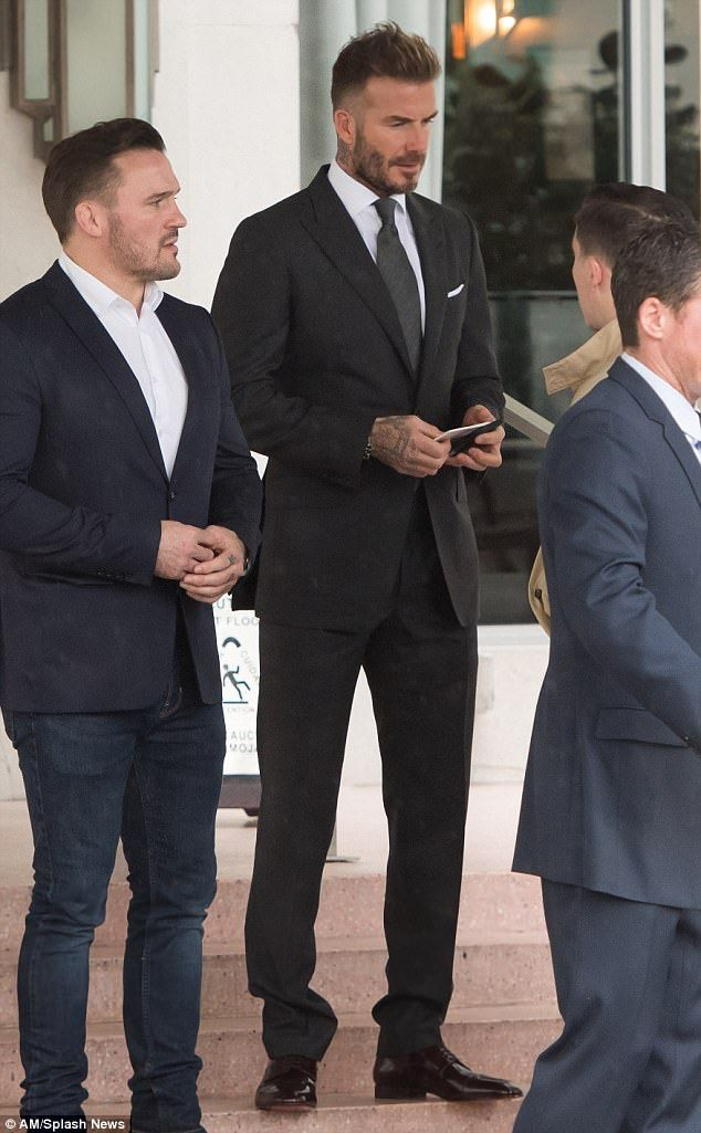 Mane star: David Beckham ensured he was looking his best as launched his MLS franchise in Miami on Monday, while showing off his newly trimmed locks which he debuted the day before