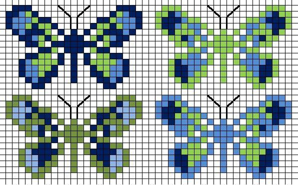 Vlinder cross-stitch, butterfly cross-stitch