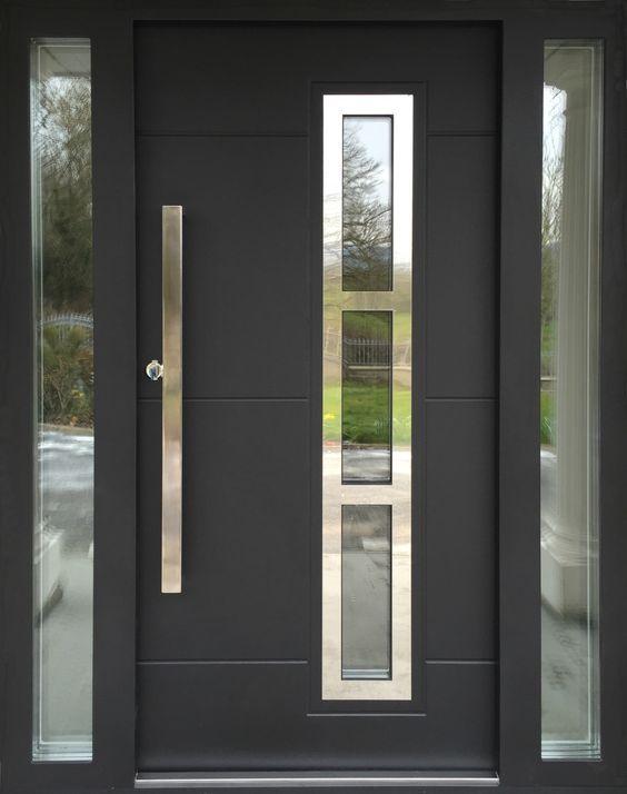 Puertas de aluminio negro puertas de aluminio para for Casas modernas con puertas antiguas