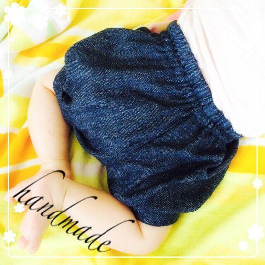 再販♥デニムかぼちゃパンツ by M. ベビー・キッズ ベビー服・小物 | ハンドメイドマーケット minne(ミンネ)