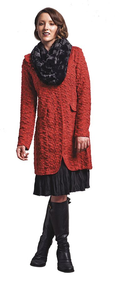 Vue Denver Coat in Tobasco and Moscow Snood   www.sassys.co.nz