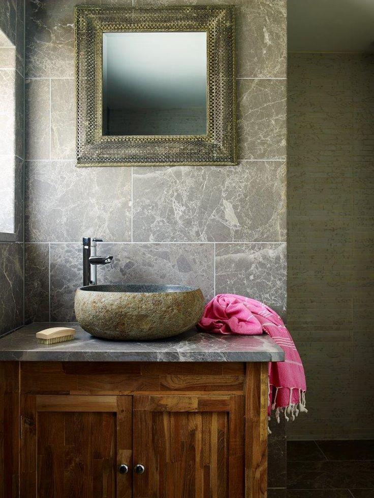 Lavastone Basalt Peble Basin Combined With Fume Emeprador Honed Limestone  Tiles