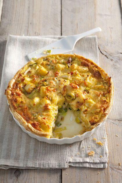 Recept voor zalm-preitaart met ananas