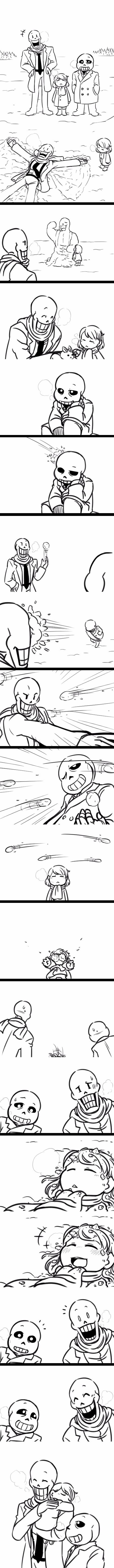 Papyrus, Frisk, and Sans - MobsterUT AU - comic