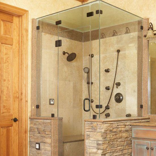 Fat sex shower breaks shower door