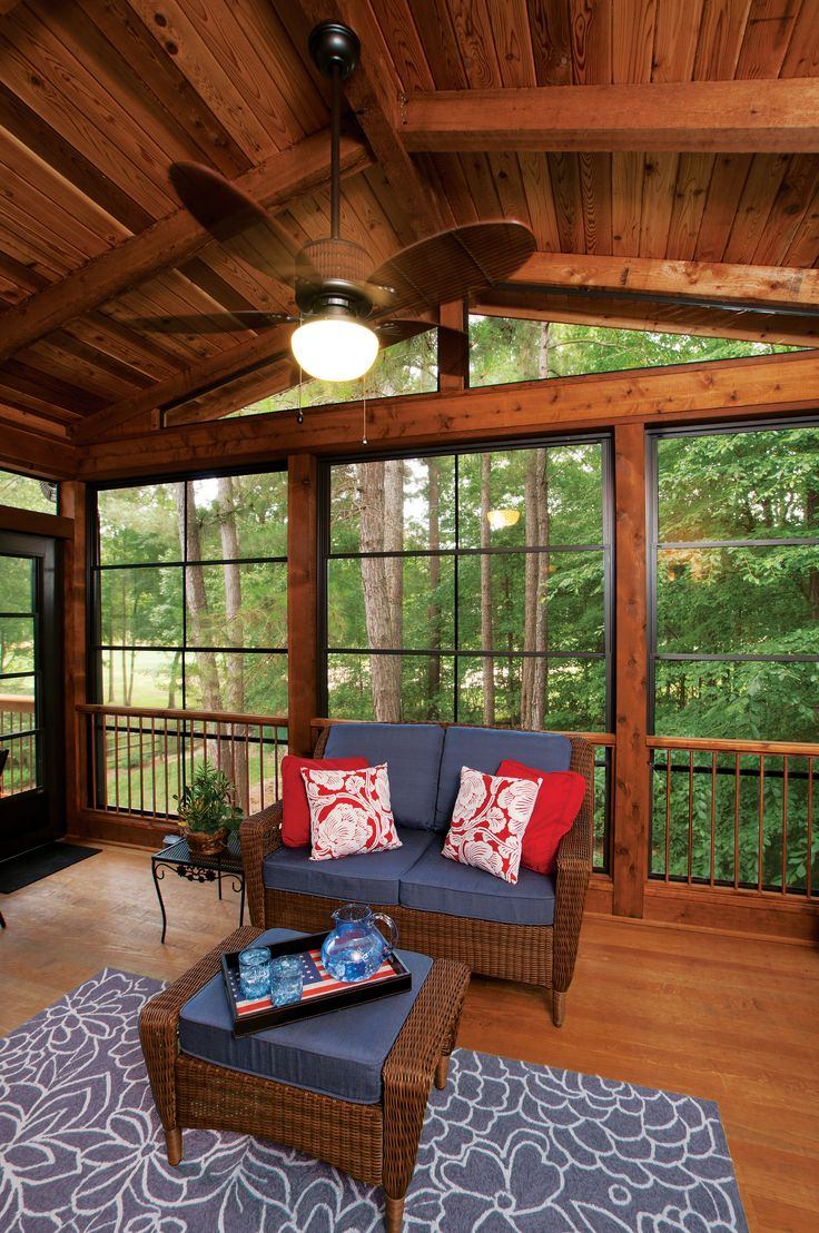 Three season porch with Eze-Breeze® windows (closed) with gable ceiling. Back porch designed and built by Atlanta Decking & Fence. atlantadecking.com/