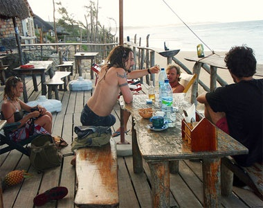 Dino's Beach Bar, Tofo, Mozambique.... I believe I ate at this same table!!!!
