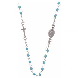 Rosario girocollo sfere azzurre 4 mm e catenina in silver | vendita online su HOLYART