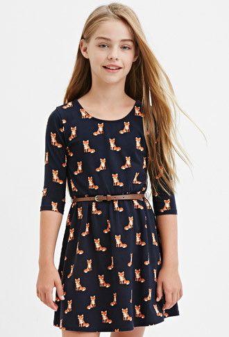 Girls Belted Fox Print Dress (Kids) | Forever 21 girls - 2000182167