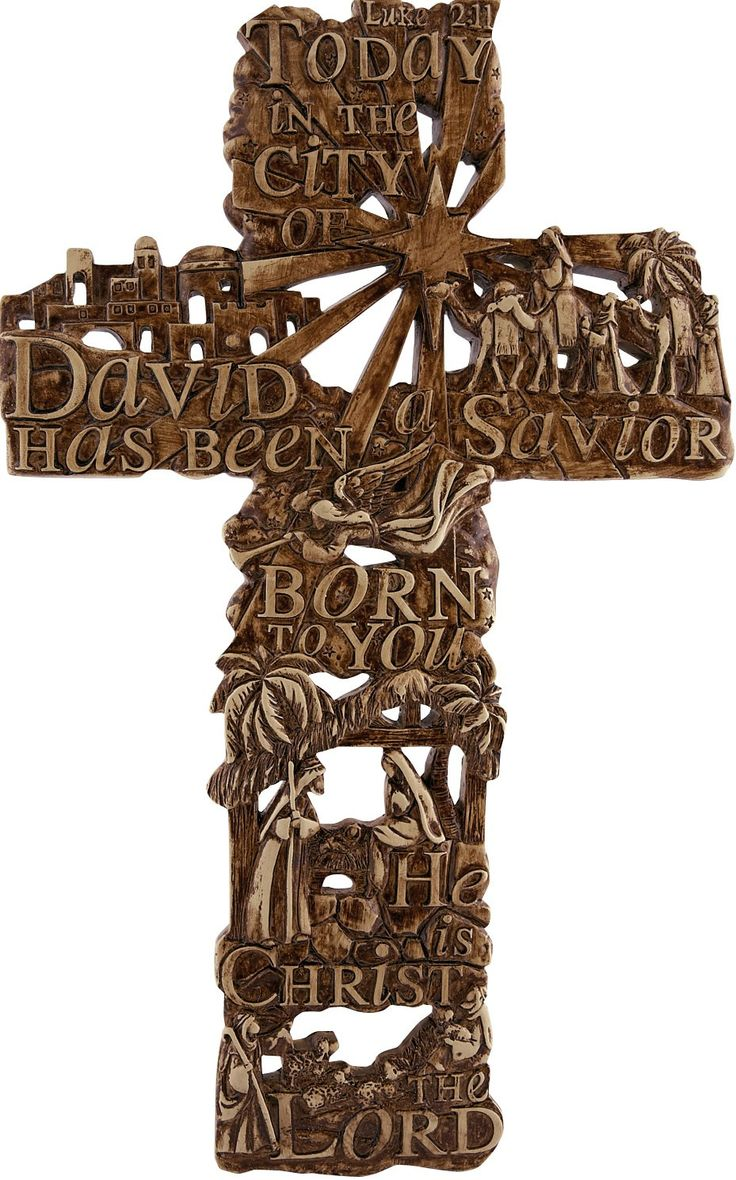 "[""This stunning brown and tan Luke 2:11 cross is meant to hang on a wall and depicts the Christmas story in beautiful relief. \r\n\r\nAt the bottom, Mary and Joseph look over the Christ child, while the wise men traverse from the right arm of the cross. An angel heralds the birth of Jesus, while the shepherds watch over their sheep at the bottom of the cross. Meanwhile, the Christmas star shines over all of Bethlehem. \r\n\r\nScripture:<\/b> \""Today in the city of David a ..."