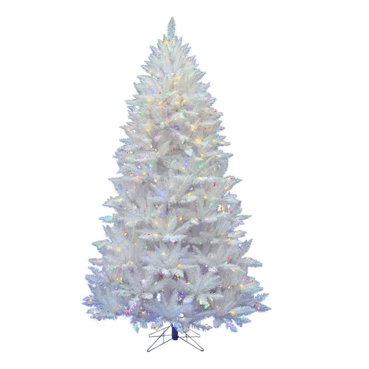 7.5ft Pre-Lit Artificial Christmas Tree Sparkle White Spruce - with 550 Multi-Colored Led Lights