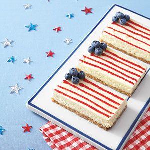American Flag Cheesecake Bars. #cheesecake