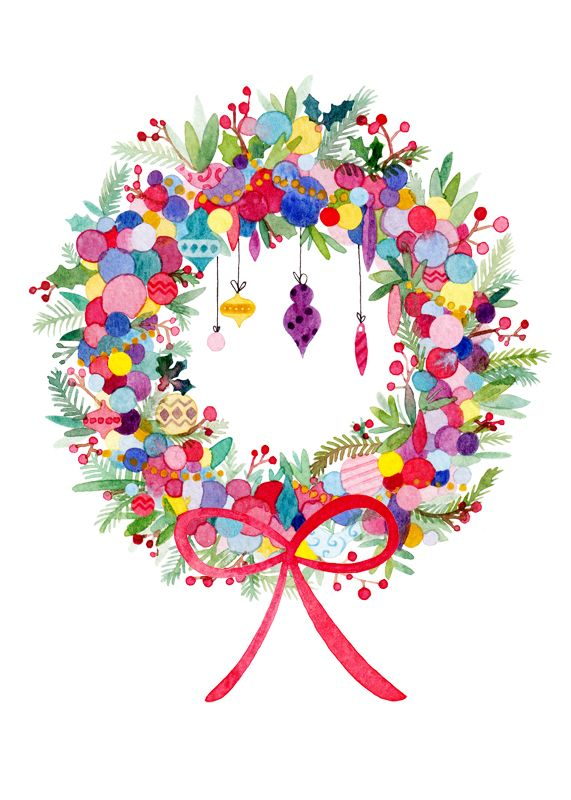 christmas wreath. very colourful