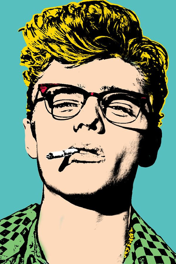 James Dean - Andy Warhol / Behance. Very powerful icon within the movie industry, known for 'wooing' the women within the decade; the use of subtle tone that Warhol uses on the side of his face changes the picture well, comparing to the Michael Jackson one which is more simplistic and cartoony, this one has more realism but has bright use of colour. This piece is really funky, with the bold solid blue background and the bright golden hair.