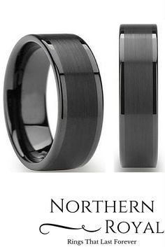 mens 8mm black tungsten wedding ring with a brushed center - Black Wedding Rings For Him