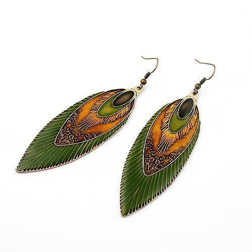 Min.order is $15 Free shipping 2011 New Design Antique Brass Peacock Feather Design Dangle Alloy Earrings C387 $1.66