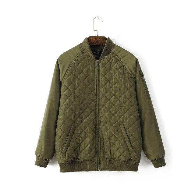 Bomber Jacket women coats New jacket Ladies Fashion Casual long sleeve Slim Padded Winter diamond pellet Jacket 3 Colors