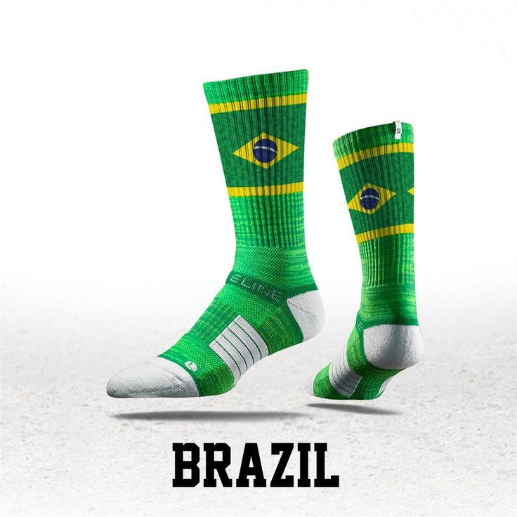 Strideline® S Collection, Brazil Flag Crew Socks NEW