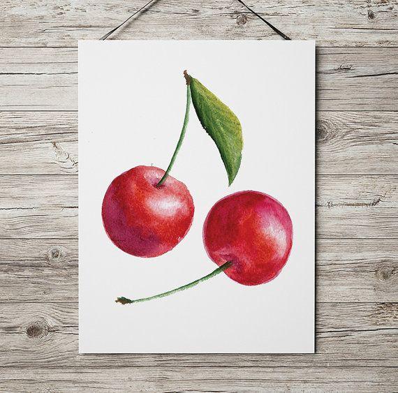Kirsche Plakat Küche print Essen Dekor Berry drucken ACW249