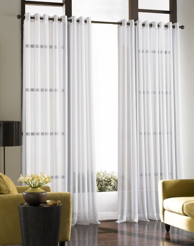 living room curtains ideas | Idea Contemporary White Curtains With Large Design Windows Modern