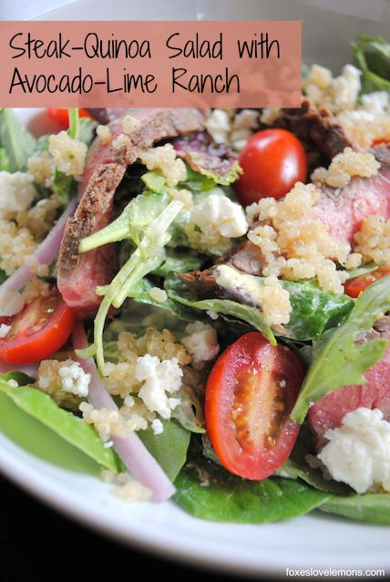 Steak-Quinoa Salad with Avocado-Lime Ranch Dressing, and other great recipe ideas for Memorial Day Weekend!