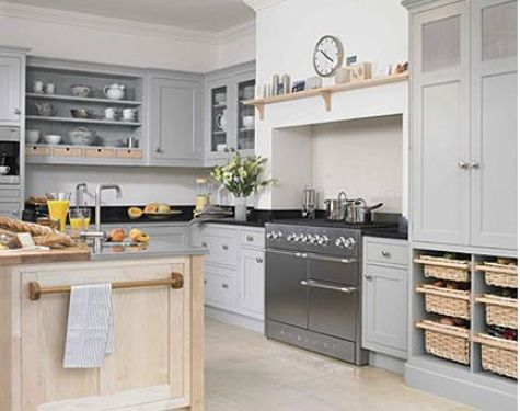 Newcastle Furniture Kitchen With Gray Painted Kitchen Cabinets, White  Accents And Natural Wood, Fitted Out With A Mercury Brand English Range.