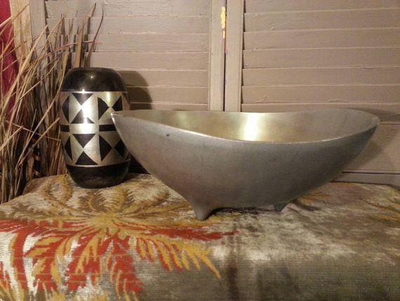 Large Heavy Pewter Serving Bowl Midcentury Modern Retro Mod Home Decor Table Decor Entertaining Etsy shop https://www.etsy.com/listing/246711914/large-heavy-pewter-serving-bowl