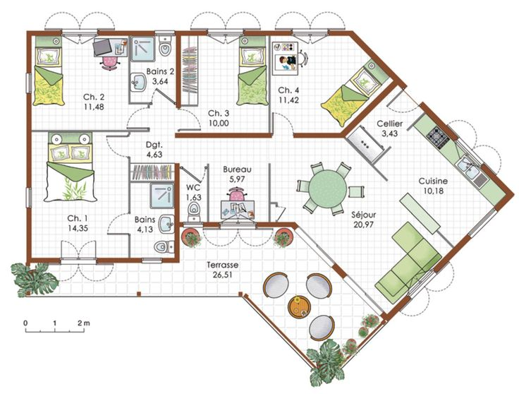 plan maison jardin bois - Plan Maison Moderne Plain Pied