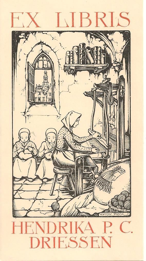 Ex Libris by Anton Pieck (Netherlands, 1895-1987) ~ Anton Franciscus Pieck was a Dutch painter, artist and graphic artist. His works are noted for their nostalgic or fairy tale-like character and are widely popular, appearing regularly on cards and calendars.