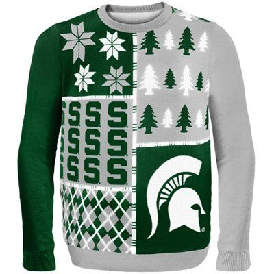 Michigan State Spartans Green Busy Block Ugly Sweater | So bad it's good!