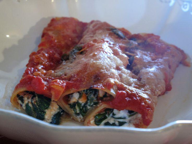 Recette: Cannelloni épinards feta ricotta et sauce tomate cuisinée