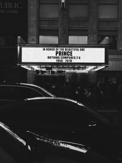 """""""In Honor of The Beautiful One.""""Apollo Theater Harlem April 22,2016. RIP Prince."""
