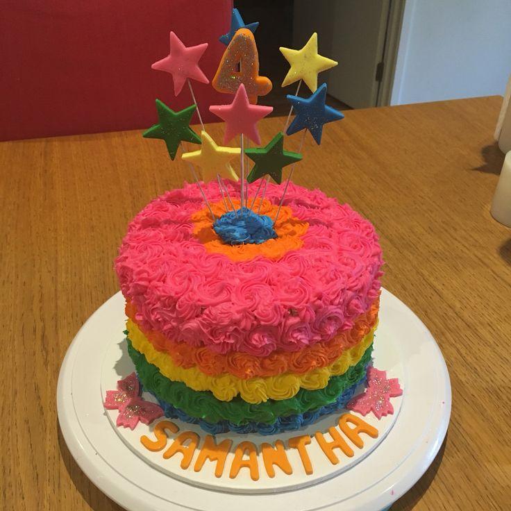 Rainbow layered cake #4thbirthday