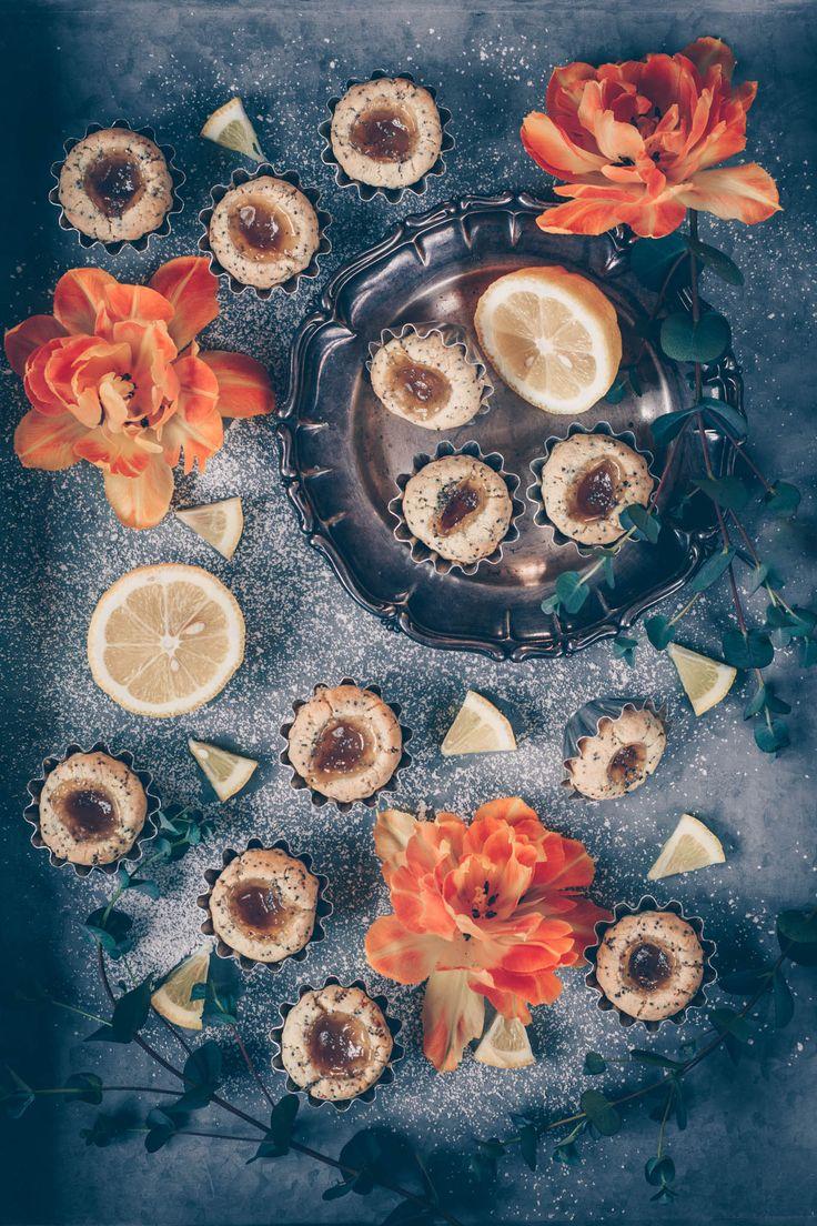 Glutenfria citrongrottor med vallmo fyllda med lemon curd