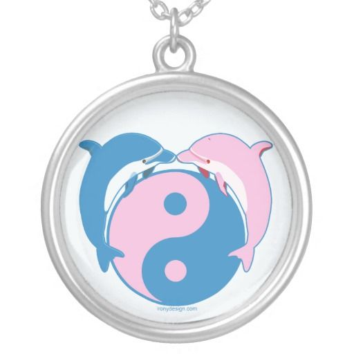 "Yin Yang Dolphins Blue/Pink Necklace. The dolphin meaning is connected with themes of duality. It has to do with the dolphin being both fish and mammal. It is both of the water, and an air breather. Ergo, dolphin symbolism talks to us about ""being in two worlds at once."" Indeed, the dolphin is a great conveyor of the concept of yin and yang. See them all here: http://www.zazzle.com/ironydesigns/necklaces?rf=238222968750191371&tc=pinterest"