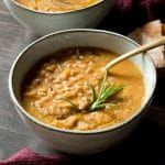 An easy, simple and delicious recipe for Tuscan farro soup made with borlotti beans. It's hearty, warming and makes a great dinner or lunch.