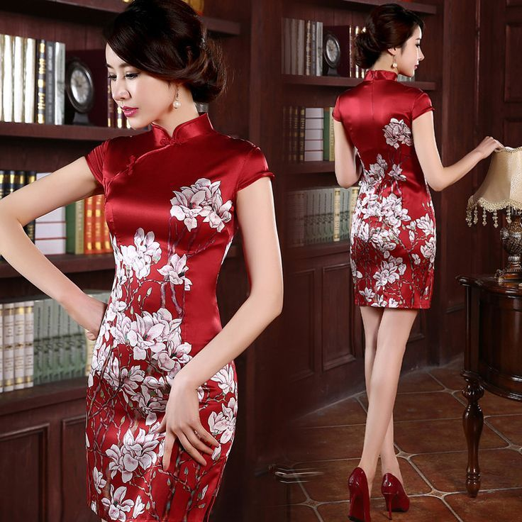 Floral silk red traditional Chinese mandarin collar wedding dress | Modern Qipao #redweddingdresses