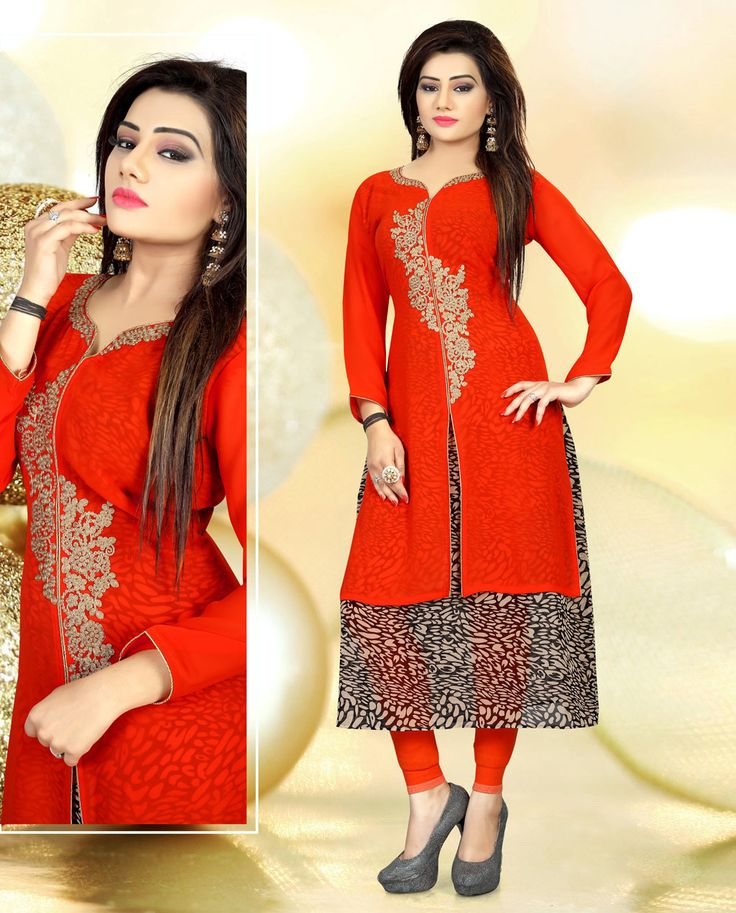Red Faux Georgette Readymade Kurti 78470