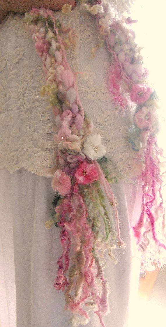 knit scarf soft handknit artyarn scarf   rose by beautifulplace