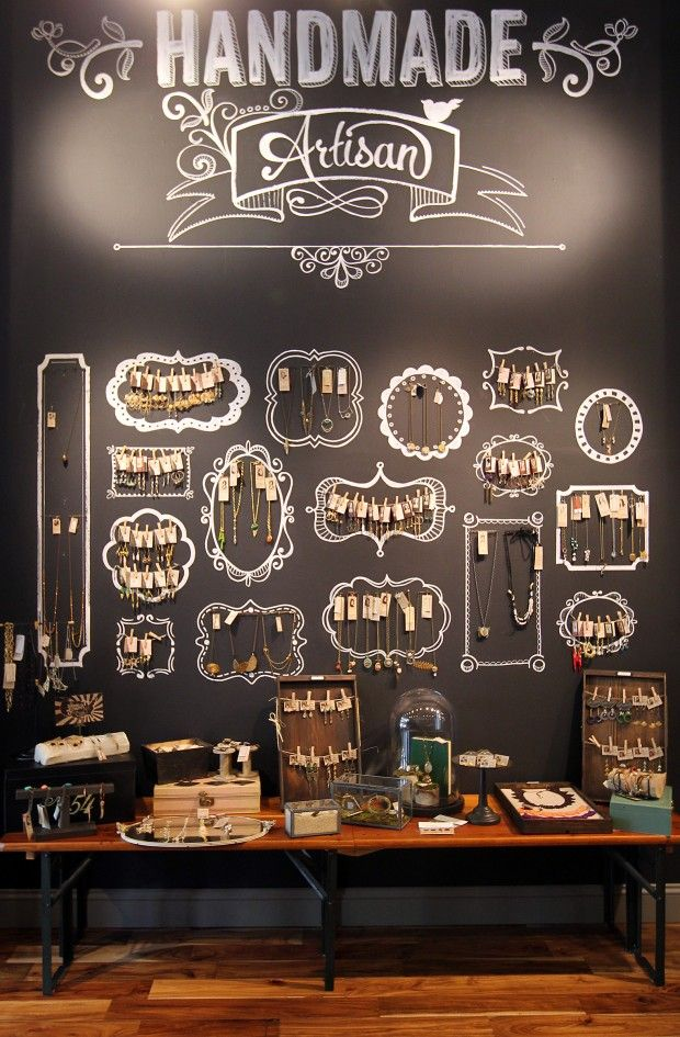 Fabulous chalkboard wall display. (Geranium, St. Louis) #retail #merchandising #display #store #wall_display #chalkboard #jewellery