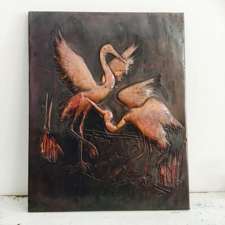 Vintage Copper wall art Dancing Cranes by MyVintageJungle on Etsy https://www.etsy.com/listing/505994904/vintage-copper-wall-art-dancing-cranes