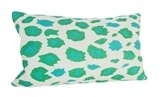 CUSH13165 Cushion Leopard Embroidered Emerald/Turquoise