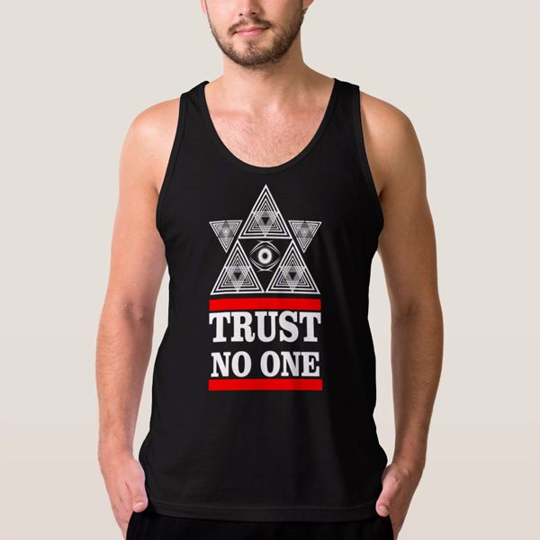 Trust No One Pyramid Eye Illuminati Men Tank Top - T-Shirts, Tank Tops