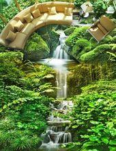 Auto adhesivo para pisos de Encargo 3d paisaje paisaje Natural verde 3d papel tapiz de suelo luxus(China)