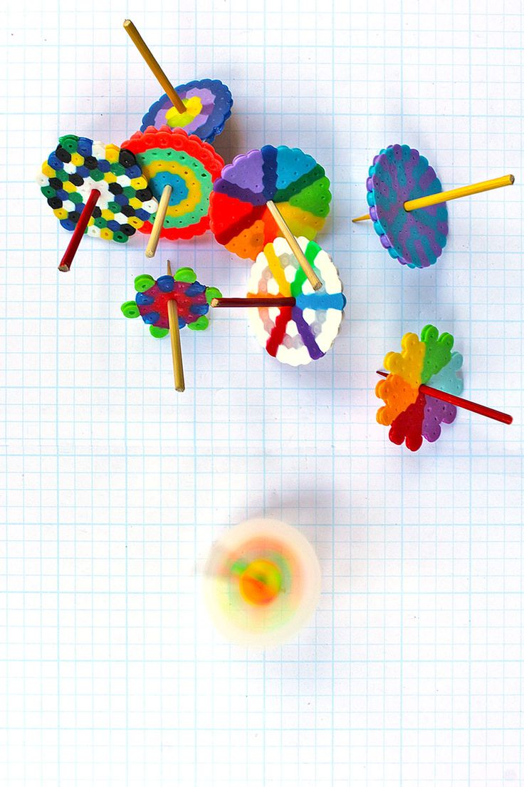 Make these easy DIY Toys: Spinning Tops using Perler beads. Plus learn about 2 scientific principles to boot!