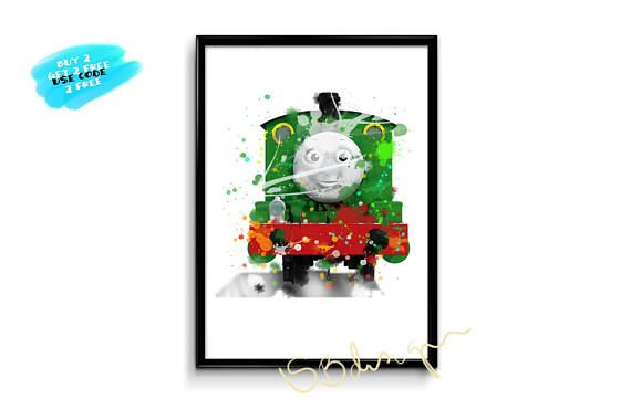 Oliver Thomas The Tank Poster watercolor thomas and friends