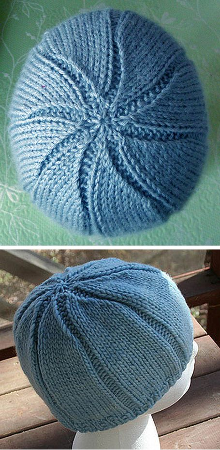 Free Knitting Pattern for Easy Starry Noggin Hat - A simple wide rib beanie with a broken rib seed stitch bottom and a star burst top. Designer Amy Duncan says it is suitable for beginners. Rated very easy by Ravelrers. Worsted weight yarn. Pictured projects by whengaiasmiles and HapticTraveler