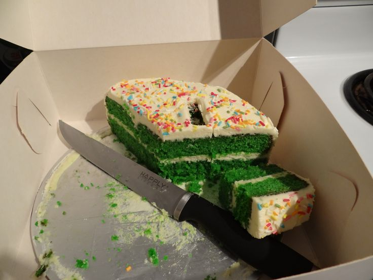 Green cake (butter cake) with buttercream icing