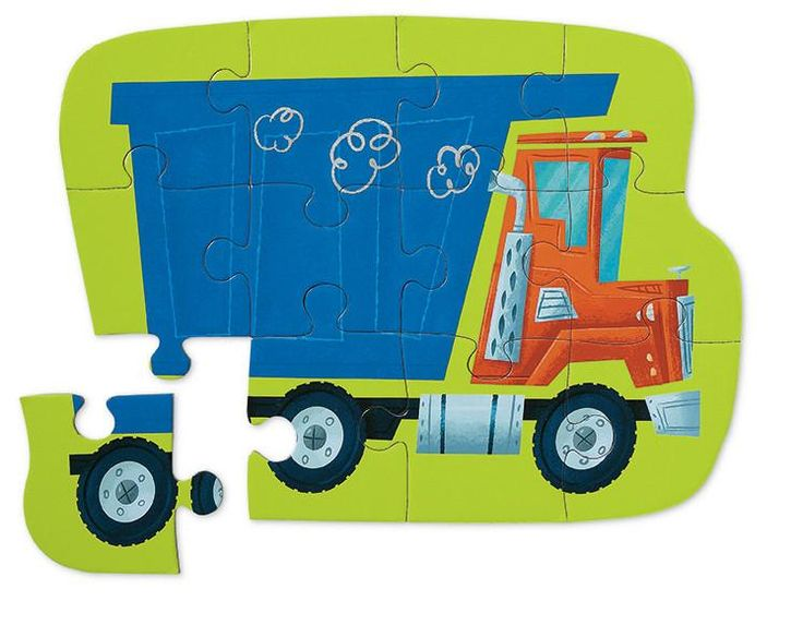 Dump Truck 12 pc puzzle 732396411541: Mini Puzzles for little kids Sturdy reusable shaped boxes make these puzzles perfect for travel or home.